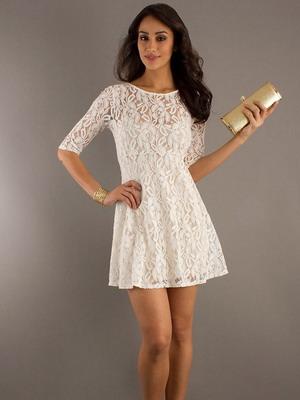 Пышные гипюровые короткие платья