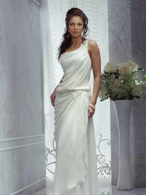 Такие как на фото свадебные платья в греческом стиле ниже станут лучшим решением для торжеств с насыщенным сценарием