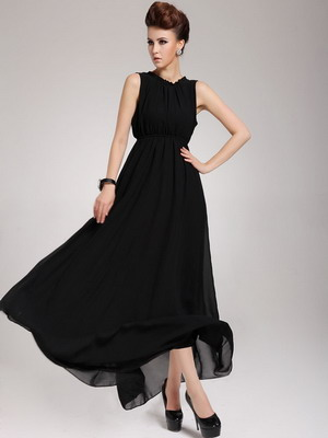 Черные длинные платья с цветочками