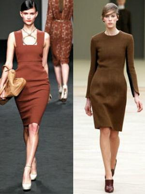 Красно-коричневый цвет платья