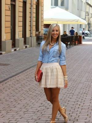 Платье из джинсовой рубашки и юбки