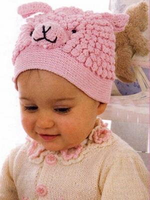 Такие как на фото детские вязаные шапки придутся по душе любой юной моднице