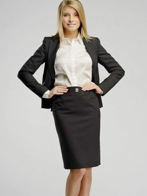 Фото белая блузка черная юбка
