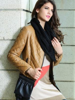 куртка без воротника с шарфом фото
