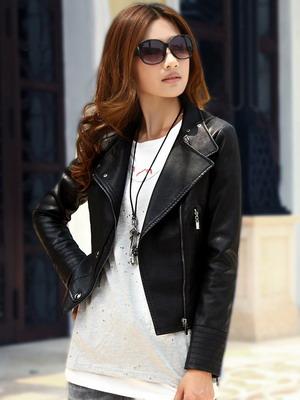 женские черные кожаные куртки фото