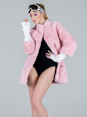 Ροζ παλτά μωβ μαργαριτάρι μινκ δεν έχουν σχεδόν καμία εγκάρσια σκοτεινή  ρίγες στην κορυφογραμμή 36d1310d680