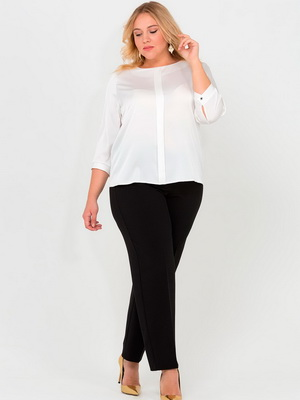48bb7153088 Фасоны модных в 2019 году белых офисных блузок для полных женщин